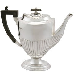 1920s Antique Sterling Silver Coffee Pot Queen Anne Style