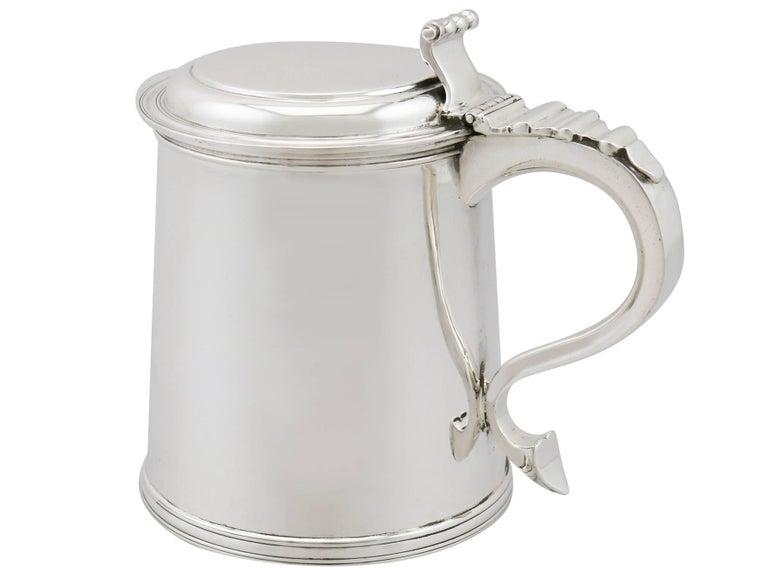 English 1920s Antique Sterling Silver Tankard For Sale