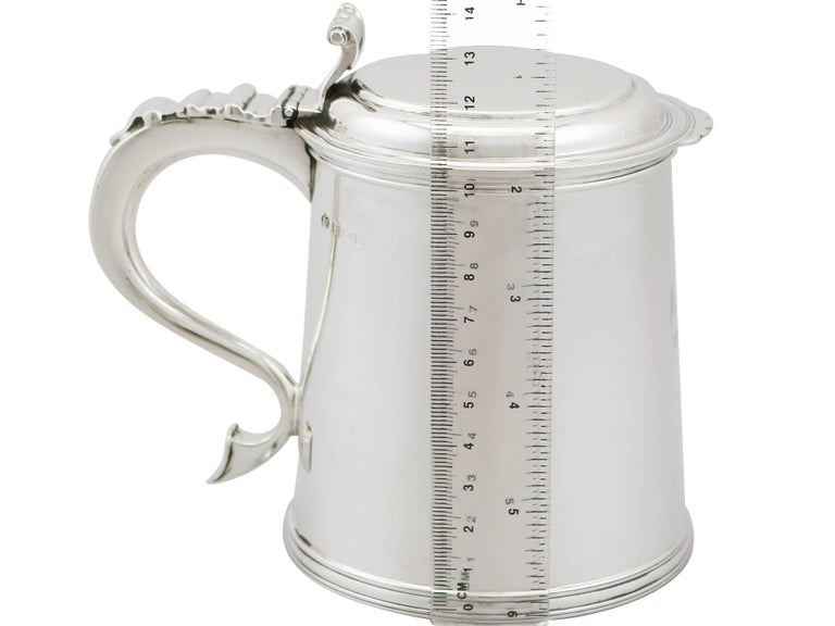 1920s Antique Sterling Silver Tankard For Sale 4