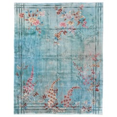 1920s Antique Light Blue Chinese Art Deco Rug