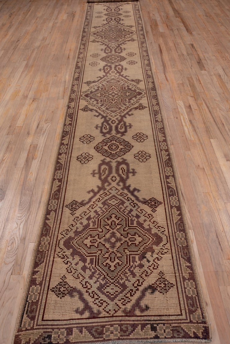 Hand-Knotted 1920s Antique Long Oushak Runner For Sale