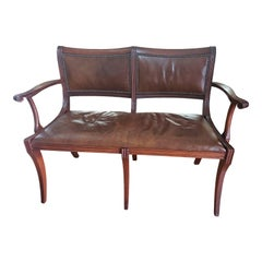 1920s Antique Mahogany Top Grain Leather Settee by Colonial Manufacturing