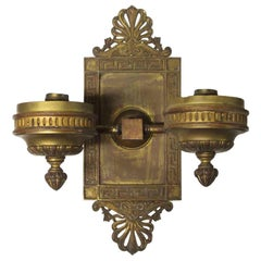 1920s Antique Neoclassical Greek Key Bronze Bank Wall Sconce with Double Arms