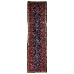 "1920s Blue Antique North West Persian Full Pile Runner Rug - 3'9"" x 13'9"""