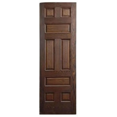 1920s Antique Oak Passage Door with Eight Panels