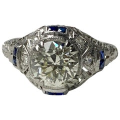 1920s Antique Old European Cut Diamond Ring in Platinum