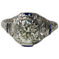 1920s Antique Old European Cut Diamond Ring in Platinum