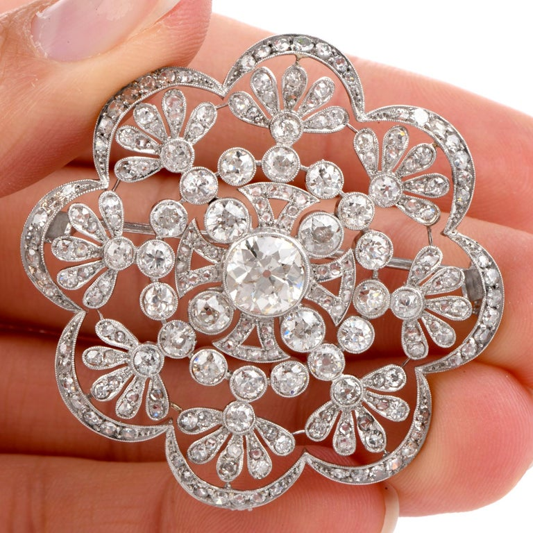 Art Deco 1920s Antique Old European Diamond Flower Openwork Platinum Pin Brooch For Sale
