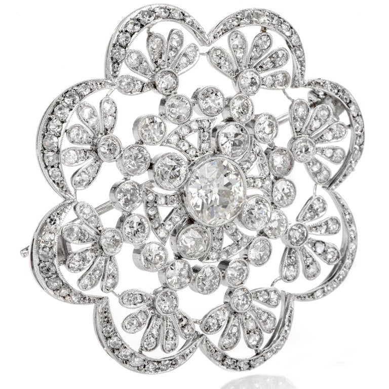 1920s Antique Old European Diamond Flower Openwork Platinum Pin Brooch In Excellent Condition For Sale In Miami, FL