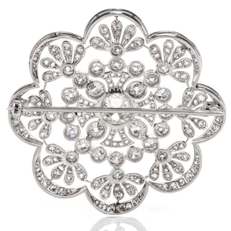 Women's or Men's 1920s Antique Old European Diamond Flower Openwork Platinum Pin Brooch For Sale
