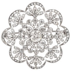1920s Antique Old European Diamond Flower Openwork Platinum Pin Brooch