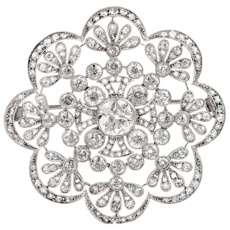 1920s Antique Old European Diamond Flower Openwork Platinum Pin Brooch For Sale