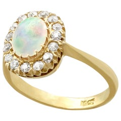 1920s Antique Opal Diamond Gold Cluster Ring