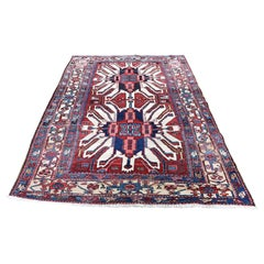 "1920s Antique Persian Karajeh with Eagle Kazak Design Oriental Rug - 4'6"" x 7'4"""