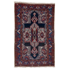 1920s Antique Persian Malayer Rugm Ivory & Navy Field, Red & Royal Blue Borders
