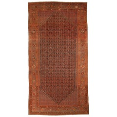 1920s Antique Persian Rug Malayer Design with Rust and Black Motif