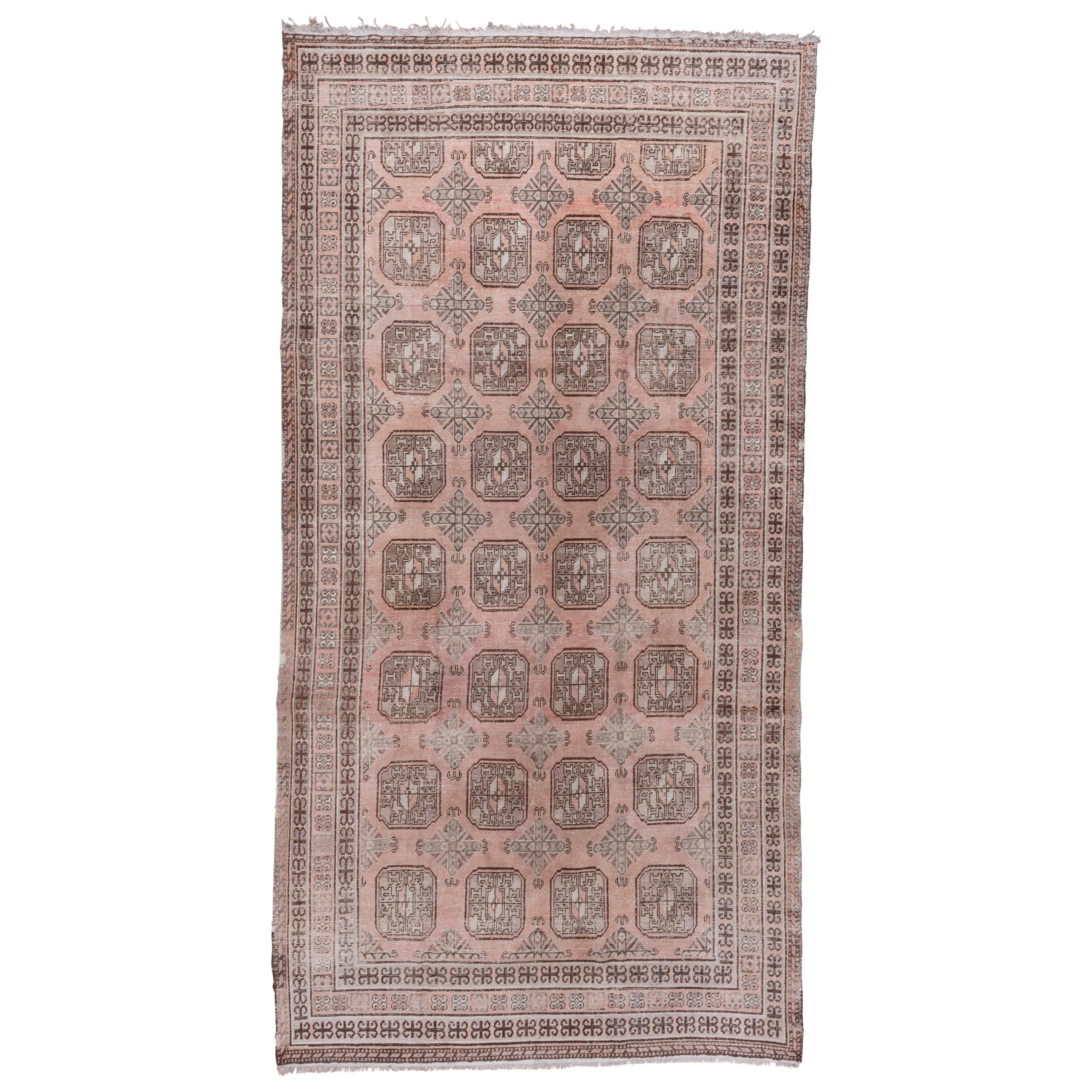 1920s Antique Pink Khotan Long Rug, All-Over Field, Ivory Accents