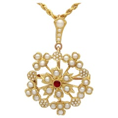 1920s Antique Ruby and Seed Pearl Yellow Gold Pendant or Brooch