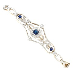 1920s Antique Sapphire and Diamond Yellow Gold Bracelet