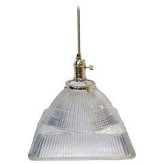 1920s Antique Square Glass Ribbed Pendant Light