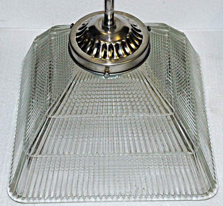 American 1920s Antique Square Holophane Industrial Pendant Light in Nickel or Brass For Sale