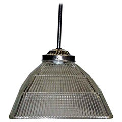 1920s Antique Square Holophane Industrial Pendant Light in Nickel or Brass