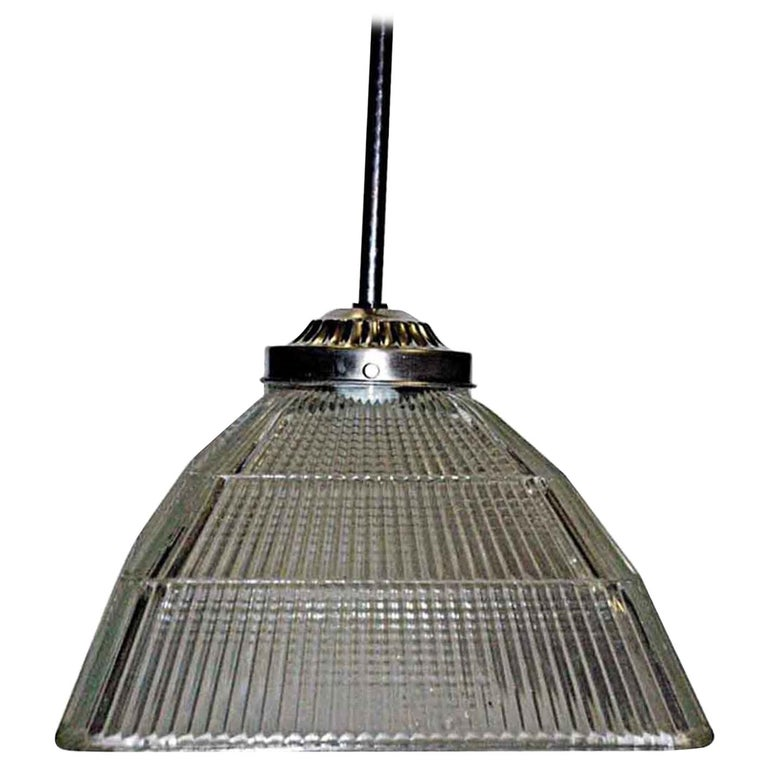 1920s Antique Square Holophane Industrial Pendant Light in Nickel or Brass For Sale