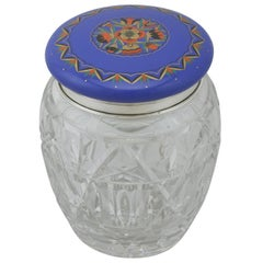 1920s Antique Sterling Silver and Cut Glass and Enamel Biscuit Barrel