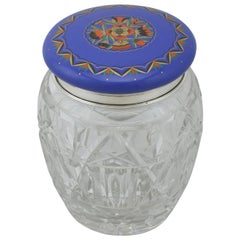 1920s Antique Sterling Silver and Cut-Glass and Enamel Biscuit Barrel
