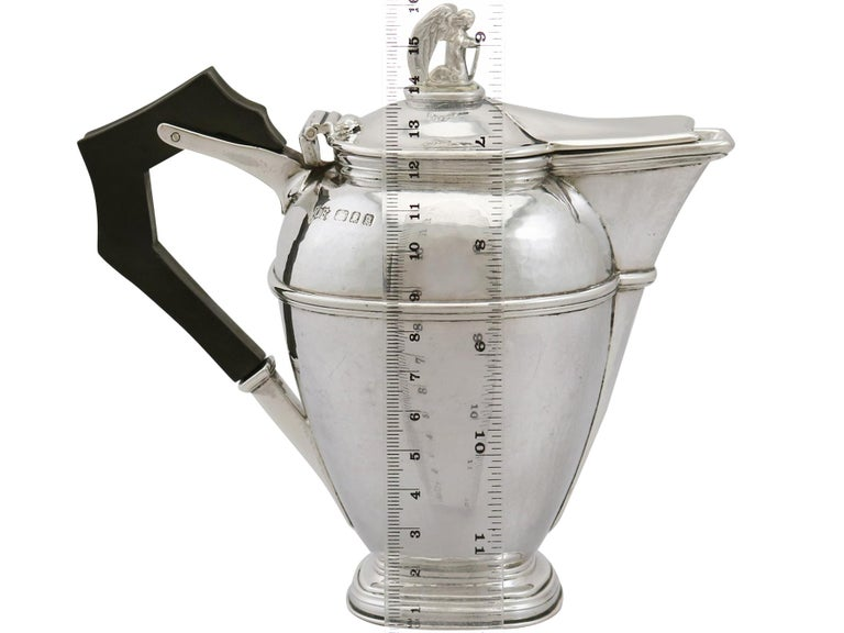 1920s Antique Sterling Silver Coffee Jug For Sale 7