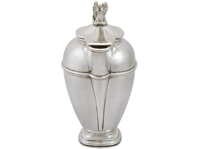 British 1920s Antique Sterling Silver Coffee Jug For Sale