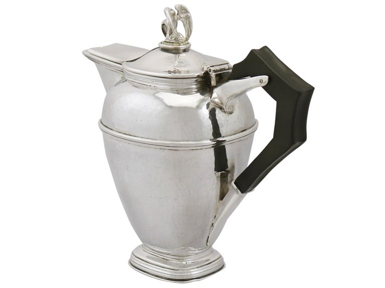 Early 20th Century 1920s Antique Sterling Silver Coffee Jug For Sale