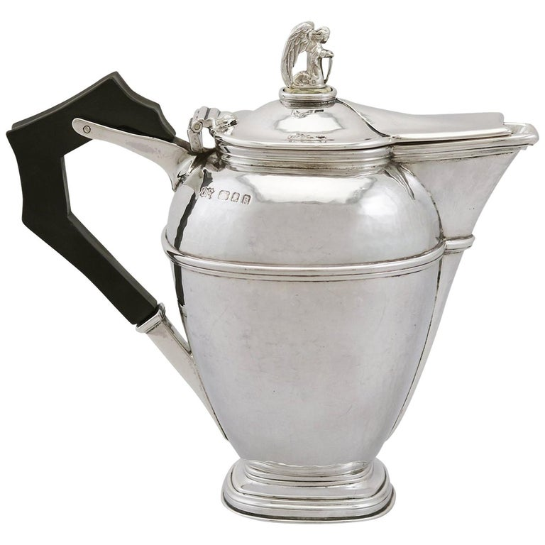 1920's Antique Sterling Silver Coffee Jug For Sale