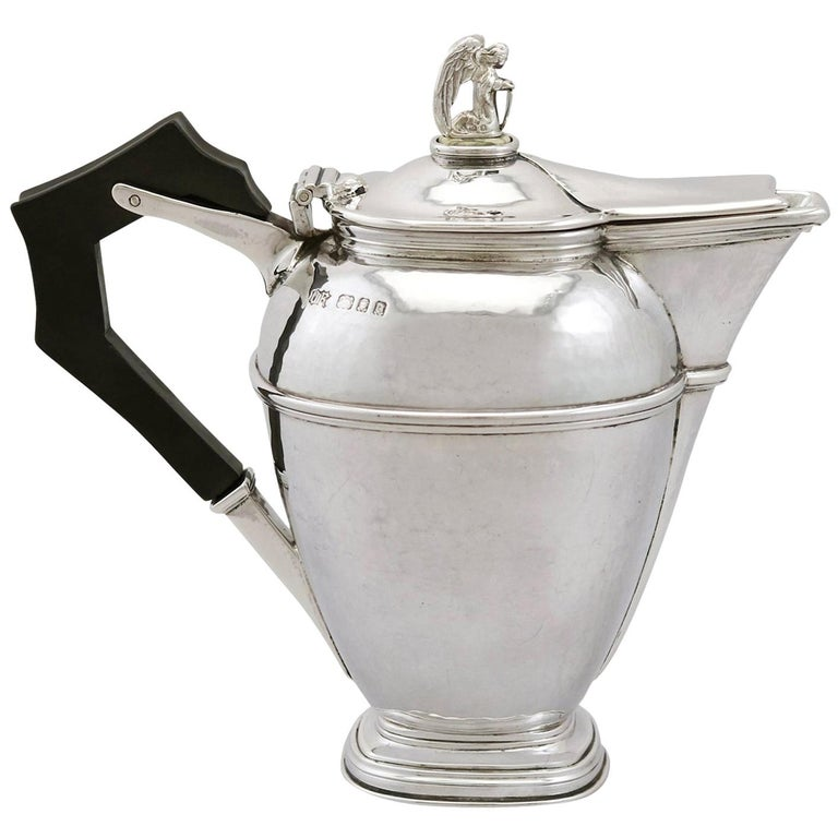 1920s Antique Sterling Silver Coffee Jug For Sale