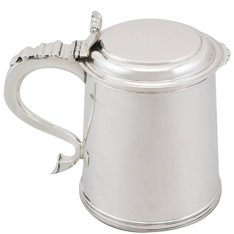1920s Antique Sterling Silver Tankard For Sale
