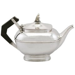 1920's Antique Sterling Silver Teapot by Omar Ramsden