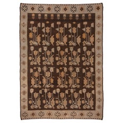 1920s Antique Turkish Kilim Rug, Allover Brown Field, Cream Borders