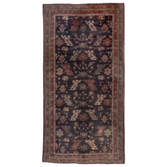 1920s Antique Turkish Oushak Gallery Rug, Navy Allover Field, Coral Borders