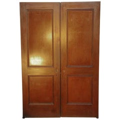 1920s Antique Two-Panel Oak Swinging Passage Double Doors