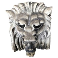 1920s Antique White Terra Cotta Lion Head from a Manhattan Theater