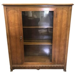 1920s Antique Wood and Glass Single Door Bookcase