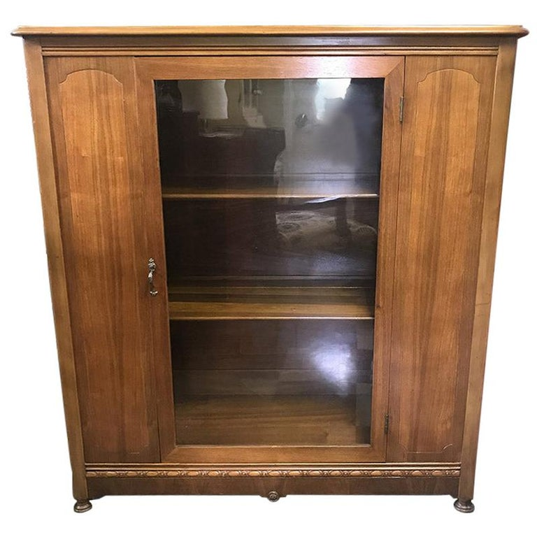 1920s Antique Wood and Glass Single Door Bookcase For Sale