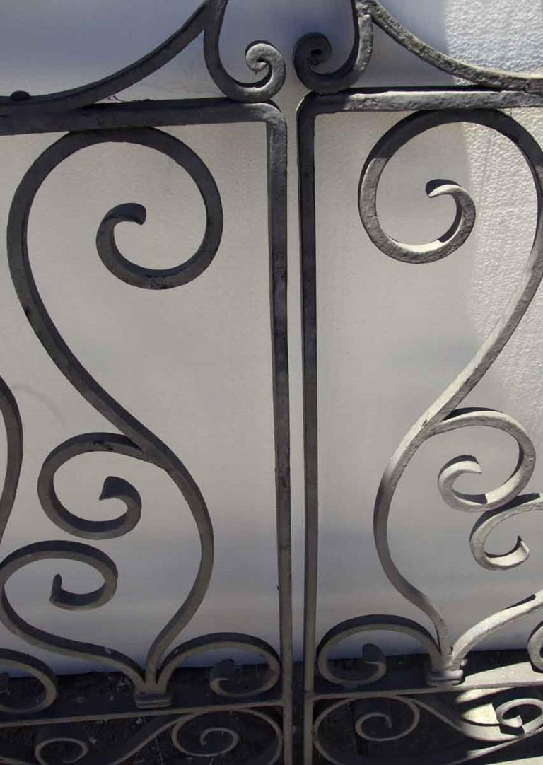 Early 20th Century 1920s Antique Wrought Iron Dual Driveway or Garden Gates
