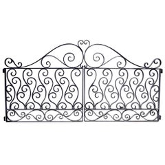 1920s Antique Wrought Iron Dual Driveway or Garden Gates