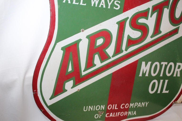 1920s Aristo Oil Union Oil Co. California Double Sided Sign For Sale 5