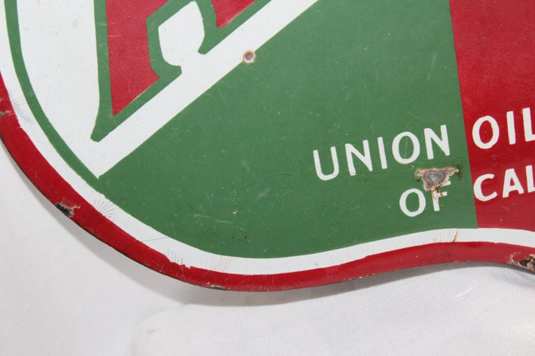 1920s Aristo Oil Union Oil Co. California Double Sided Sign For Sale 7