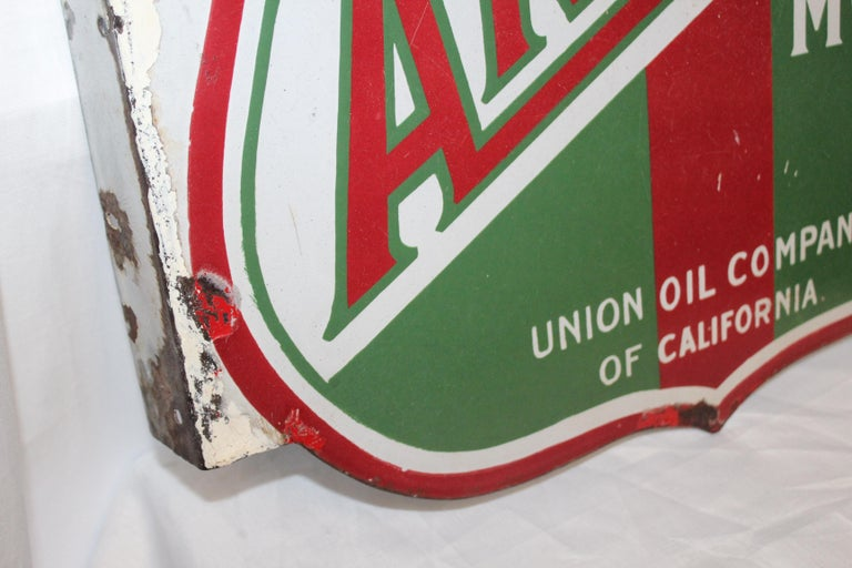 Mid-Century Modern 1920s Aristo Oil Union Oil Co. California Double Sided Sign For Sale