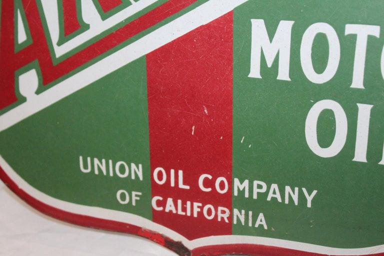 1920s Aristo Oil Union Oil Co. California Double Sided Sign In Distressed Condition For Sale In Orange, CA