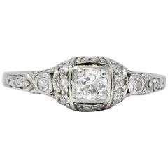 1920s Art Deco 0.30 Carat Diamond Platinum Engagement Ring