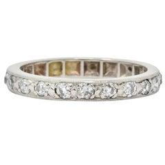 1920s Art Deco 0.38 Carat Diamond 14 Karat White Gold Orange Blossom Band Ring